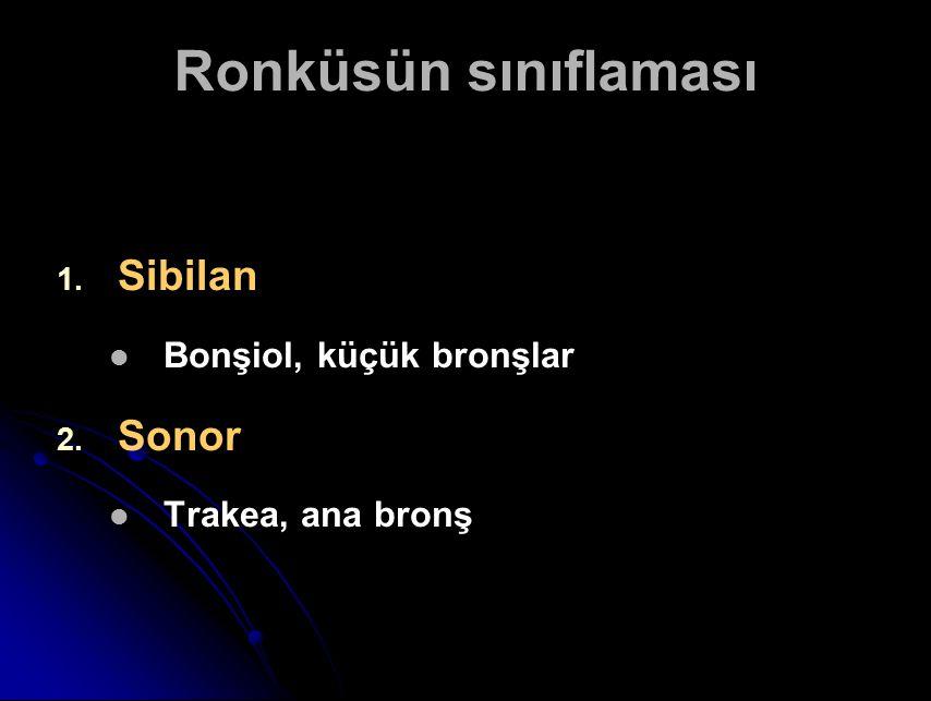 Ronküsün sınıflaması Sibilan Sonor Bonşiol, küçük bronşlar