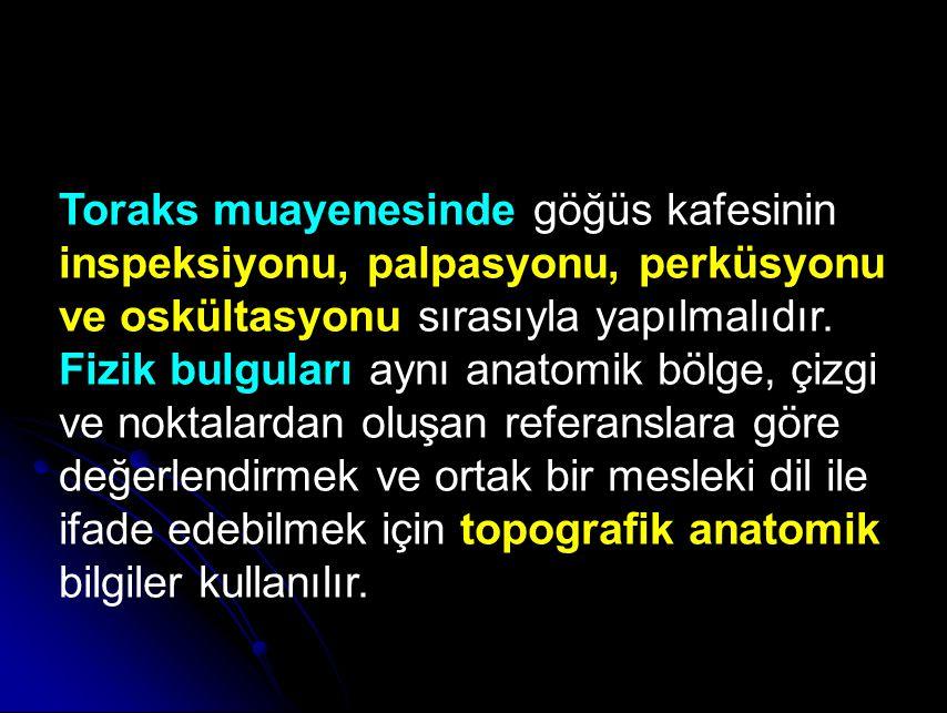 Toraks muayenesinde göğüs kafesinin inspeksiyonu, palpasyonu, perküsyonu ve oskültasyonu sırasıyla yapılmalıdır.
