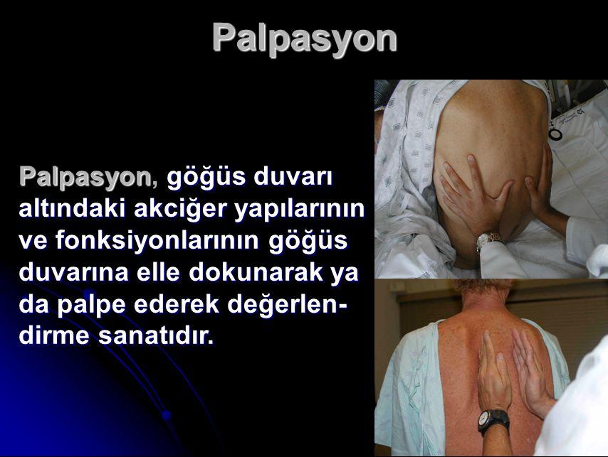 Palpasyon Palpasyon, göğüs duvarı altındaki akciğer yapılarının ve fonksiyonlarının göğüs.