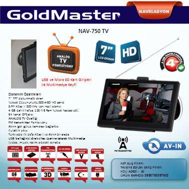 NAVİGASYON NAV-750 TV. USB ve Micro SD Kart Girişleri ile Multimedya Keyfi. Donanım Özellikleri. 7 TFT dokunmatik ekran.
