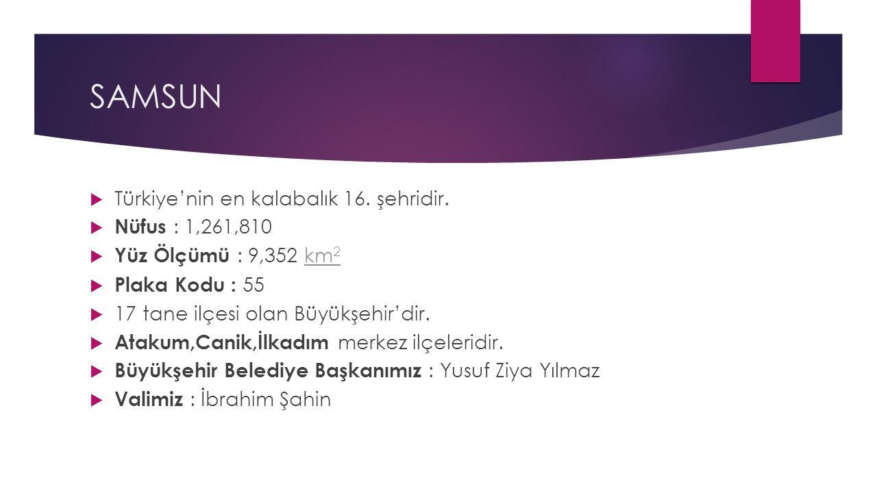 SAMSUN Türkiye'nin en kalabalık 16. şehridir. Nüfus : 1,261,810