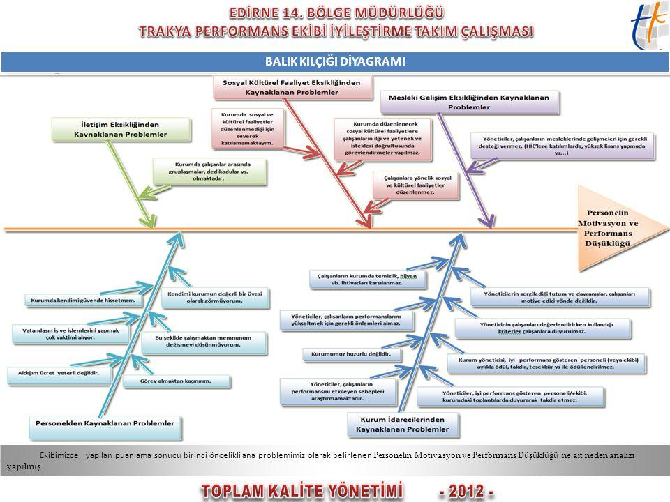 BALIK KILÇIĞI DİYAGRAMI TOPLAM KALİTE YÖNETİMİ - 2012 -