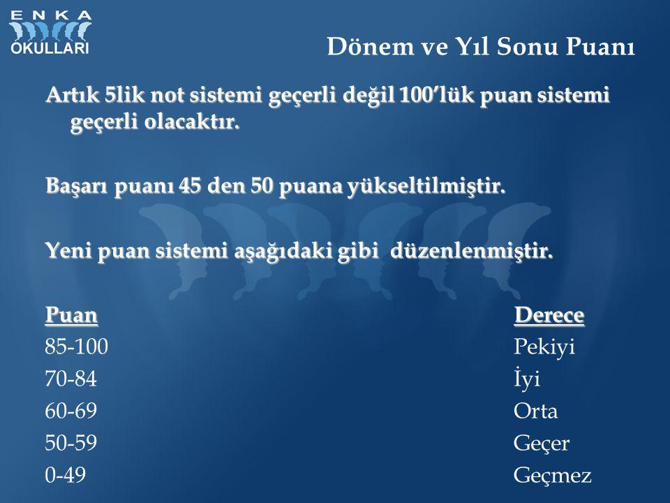 Dönem ve Yıl Sonu Puanı Artık 5lik not sistemi geçerli değil 100'lük puan sistemi geçerli olacaktır.