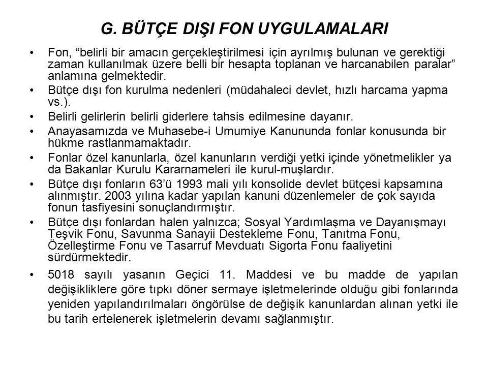 G. BÜTÇE DIŞI FON UYGULAMALARI