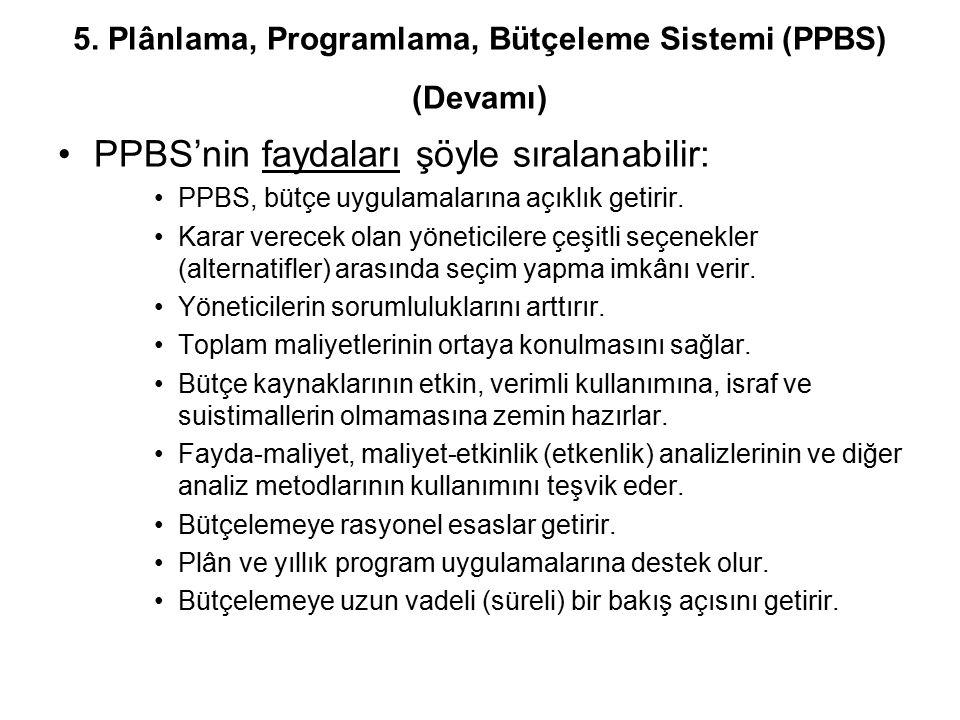 5. Plânlama, Programlama, Bütçeleme Sistemi (PPBS) (Devamı)