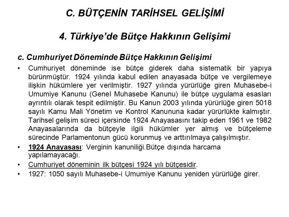 C. BÜTÇENİN TARİHSEL GELİŞİMİ 4. Türkiye'de Bütçe Hakkının Gelişimi