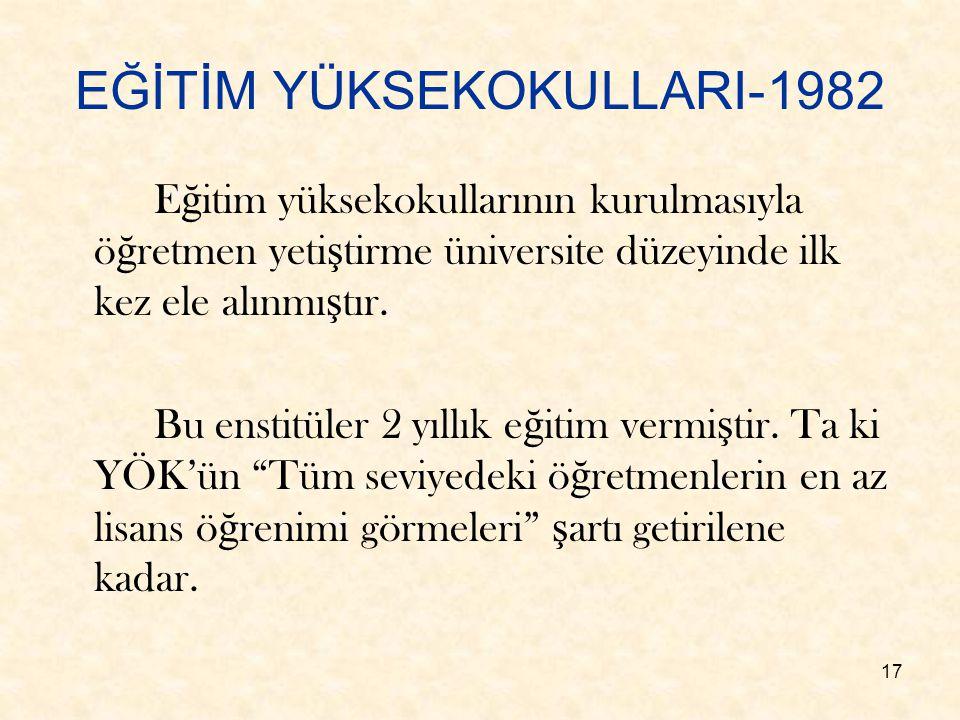 EĞİTİM YÜKSEKOKULLARI-1982