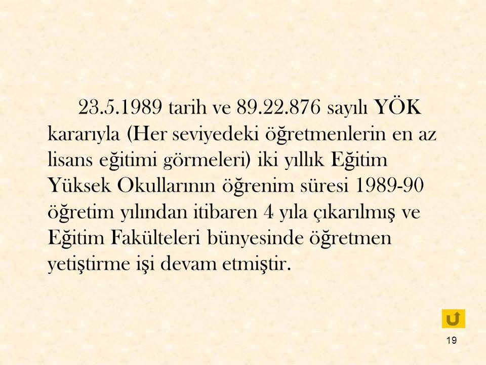 23.5.1989 tarih ve 89.22.876 sayılı YÖK kararıyla (Her seviyedeki öğretmenlerin en az lisans eğitimi görmeleri) iki yıllık Eğitim Yüksek Okullarının öğrenim süresi 1989-90 öğretim yılından itibaren 4 yıla çıkarılmış ve Eğitim Fakülteleri bünyesinde öğretmen yetiştirme işi devam etmiştir.