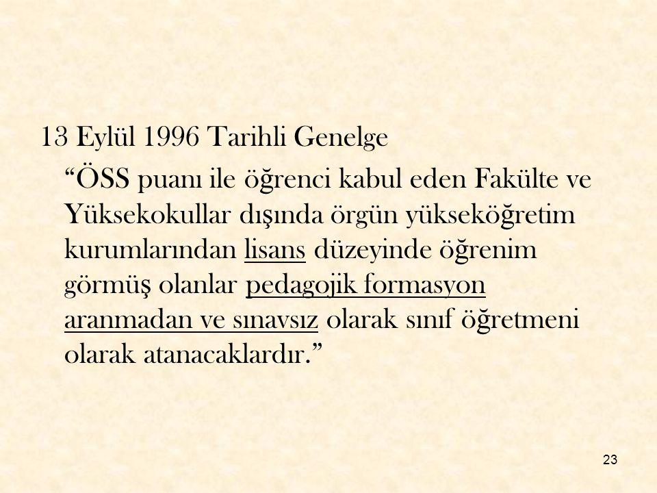 13 Eylül 1996 Tarihli Genelge