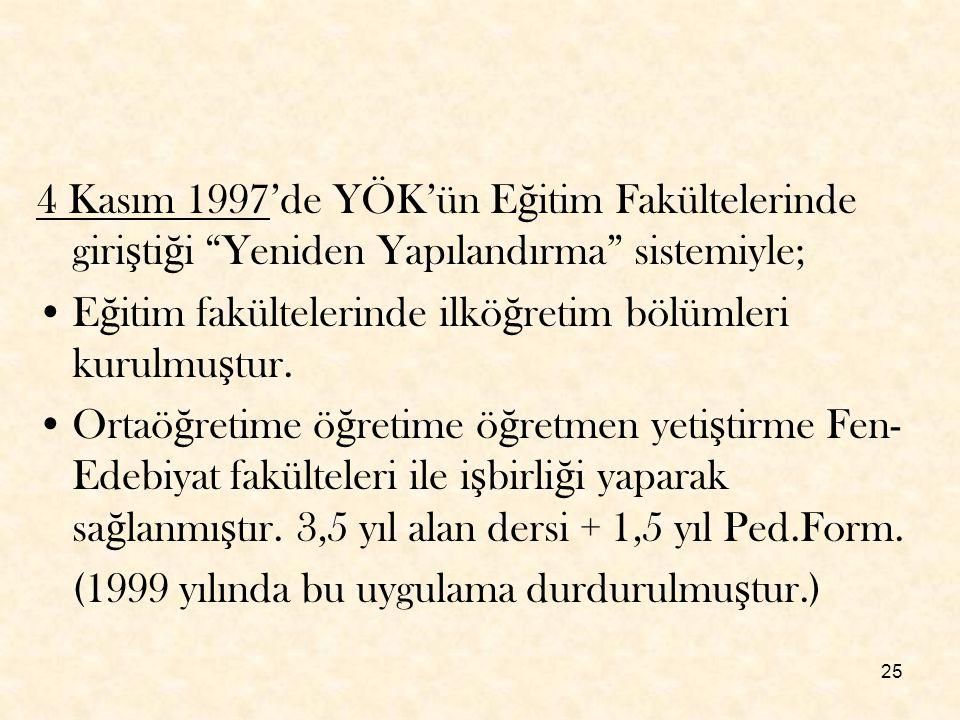 4 Kasım 1997'de YÖK'ün Eğitim Fakültelerinde giriştiği Yeniden Yapılandırma sistemiyle;