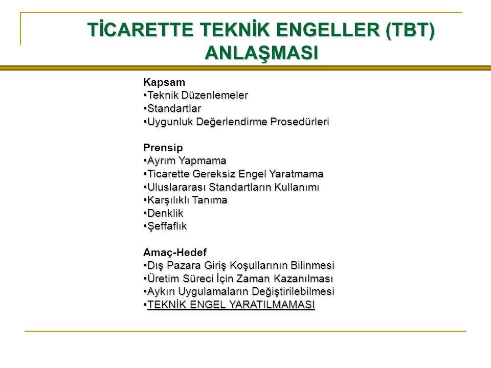 TİCARETTE TEKNİK ENGELLER (TBT)