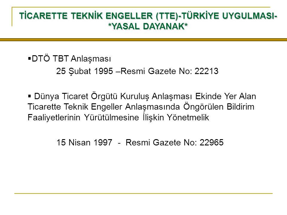 TİCARETTE TEKNİK ENGELLER (TTE)-TÜRKİYE UYGULMASI-