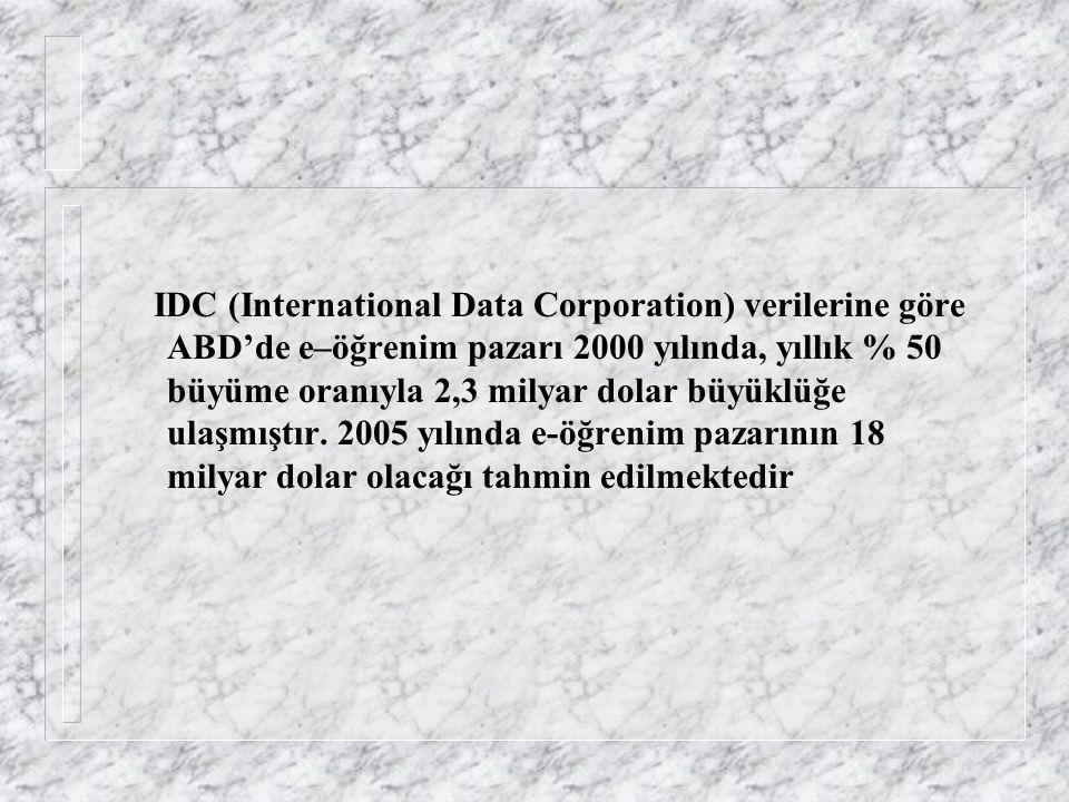 IDC (International Data Corporation) verilerine göre ABD'de e–öğrenim pazarı 2000 yılında, yıllık % 50 büyüme oranıyla 2,3 milyar dolar büyüklüğe ulaşmıştır.