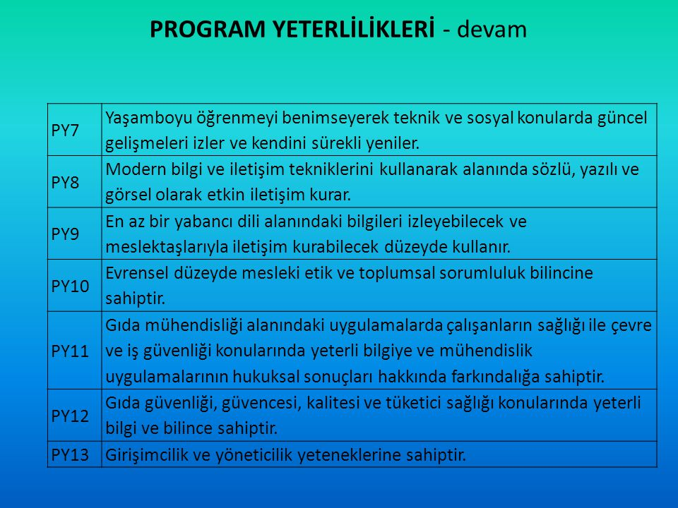 PROGRAM YETERLİLİKLERİ - devam