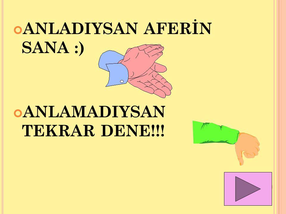 ANLADIYSAN AFERİN SANA :)