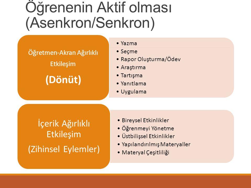 Öğrenenin Aktif olması (Asenkron/Senkron)