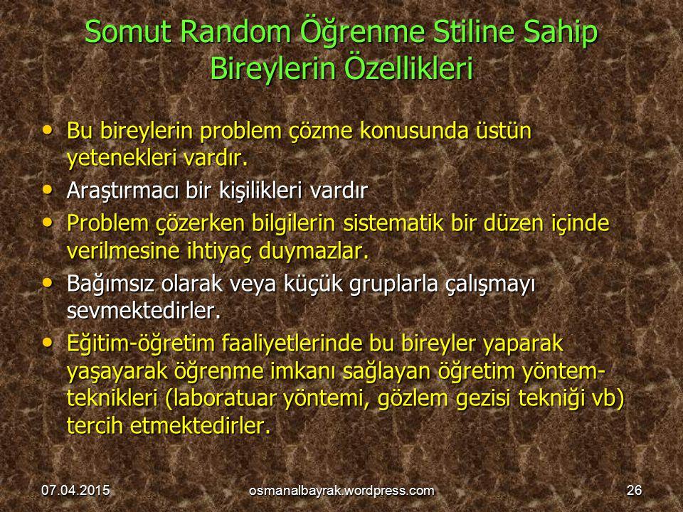 Somut Random Öğrenme Stiline Sahip Bireylerin Özellikleri