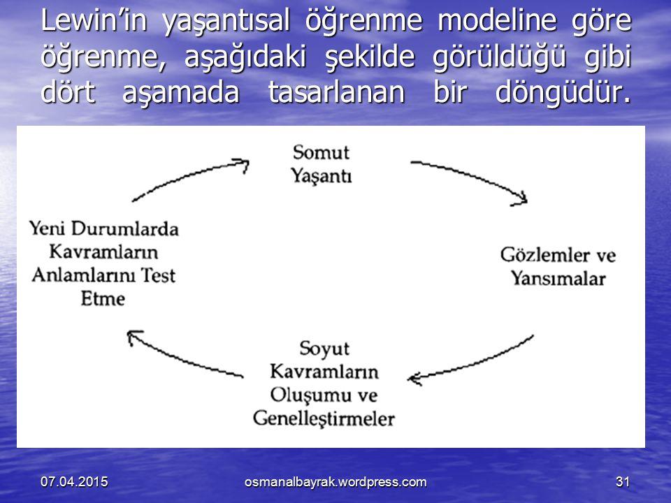 Lewin'in yaşantısal öğrenme modeline göre öğrenme, aşağıdaki şekilde görüldüğü gibi dört aşamada tasarlanan bir döngüdür.