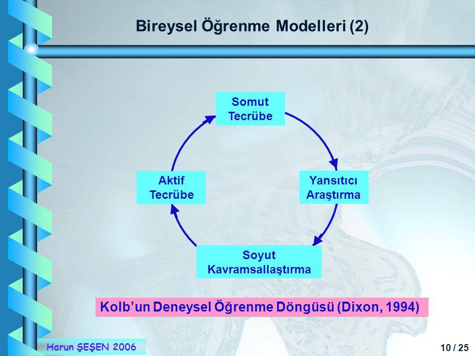 Bireysel Öğrenme Modelleri (2) Soyut Kavramsallaştırma