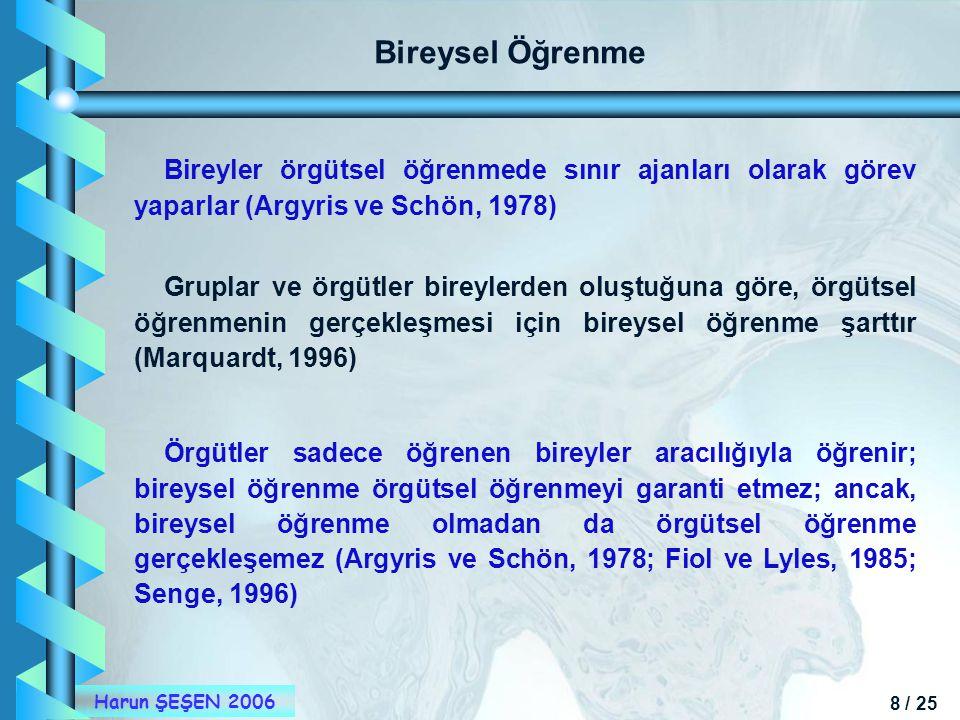 Bireysel Öğrenme Bireyler örgütsel öğrenmede sınır ajanları olarak görev yaparlar (Argyris ve Schön, 1978)
