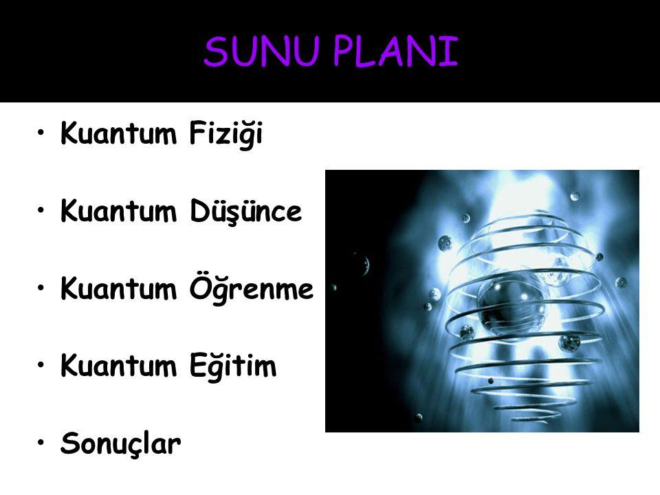 SUNU PLANI Kuantum Fiziği Kuantum Düşünce Kuantum Öğrenme