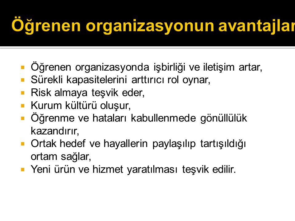 Öğrenen organizasyonun avantajları