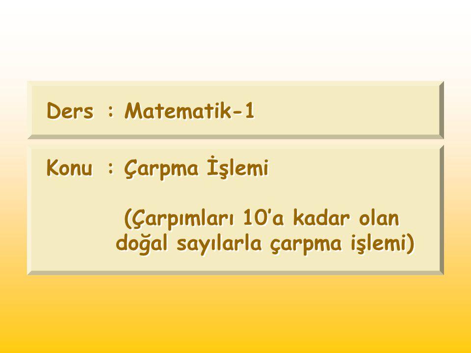 Ders : Matematik-1 Konu : Çarpma İşlemi (Çarpımları 10'a kadar olan doğal sayılarla çarpma işlemi)