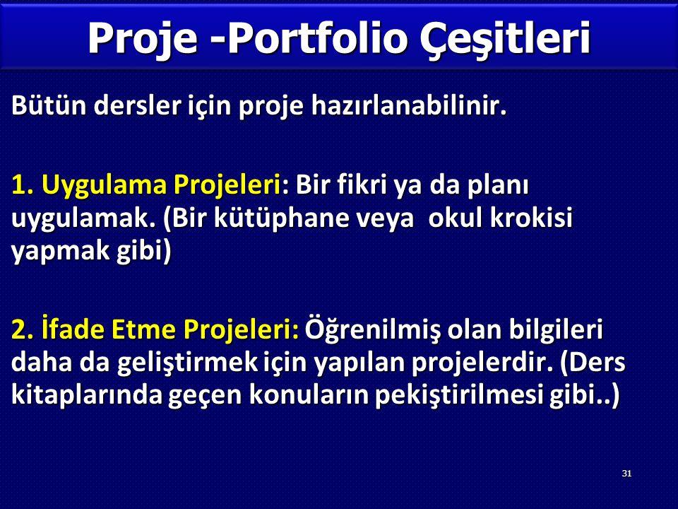 Proje -Portfolio Çeşitleri