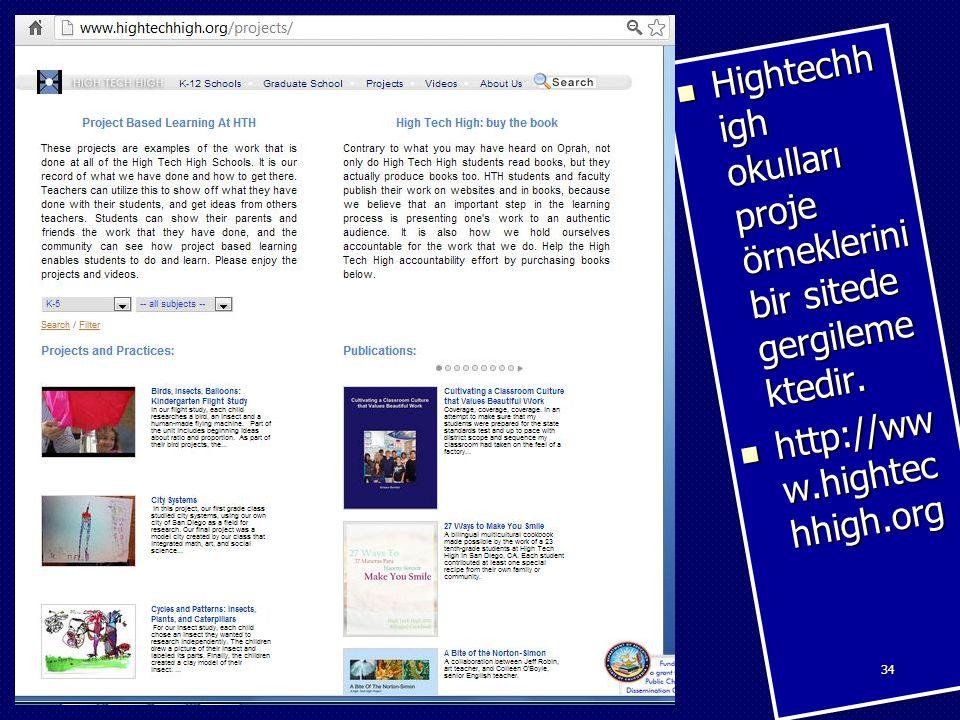 Hightechhigh okulları proje örneklerini bir sitede gergilemektedir.