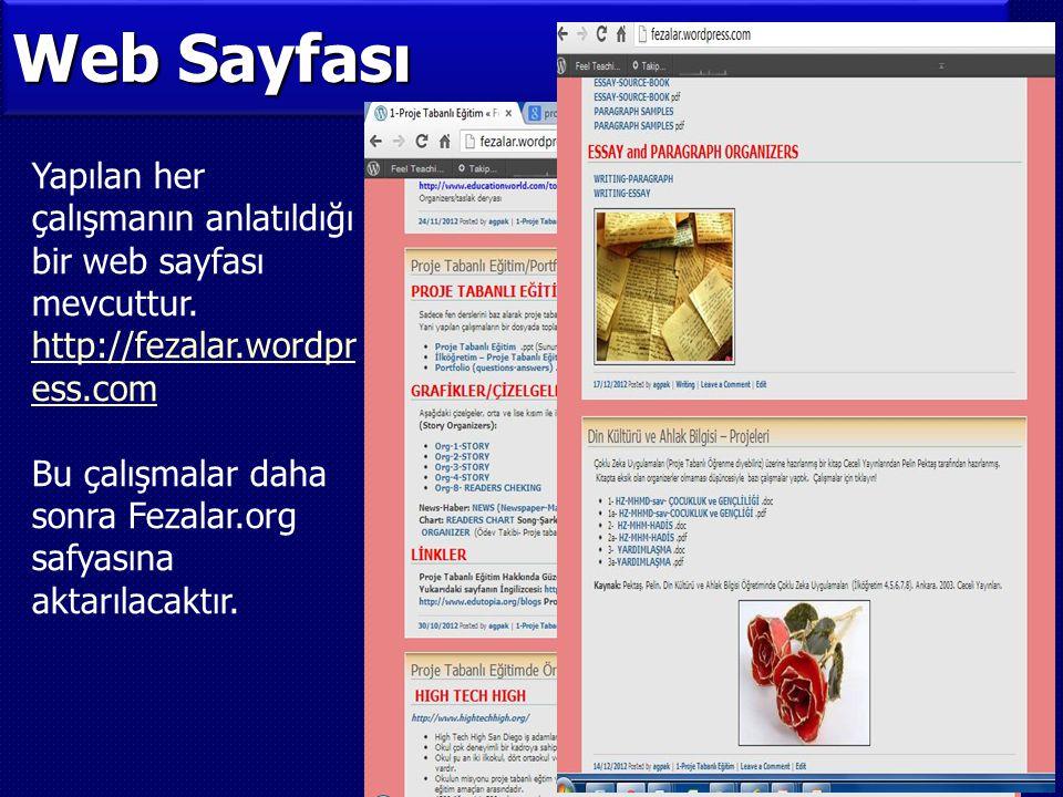 Web Sayfası Yapılan her çalışmanın anlatıldığı bir web sayfası mevcuttur. http://fezalar.wordpress.com.