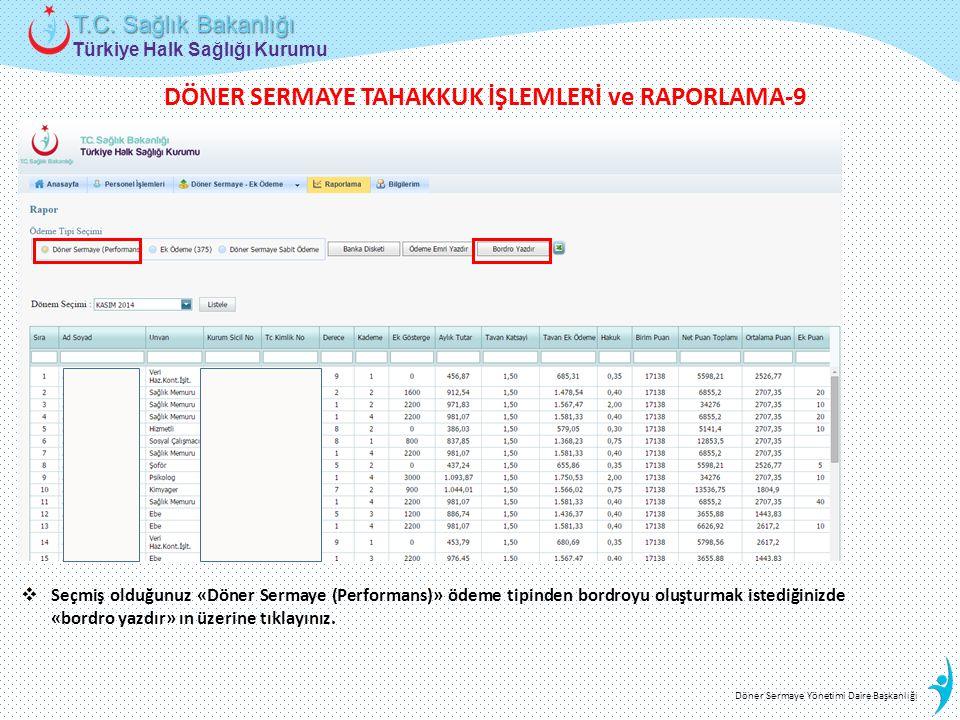 DÖNER SERMAYE TAHAKKUK İŞLEMLERİ ve RAPORLAMA-9