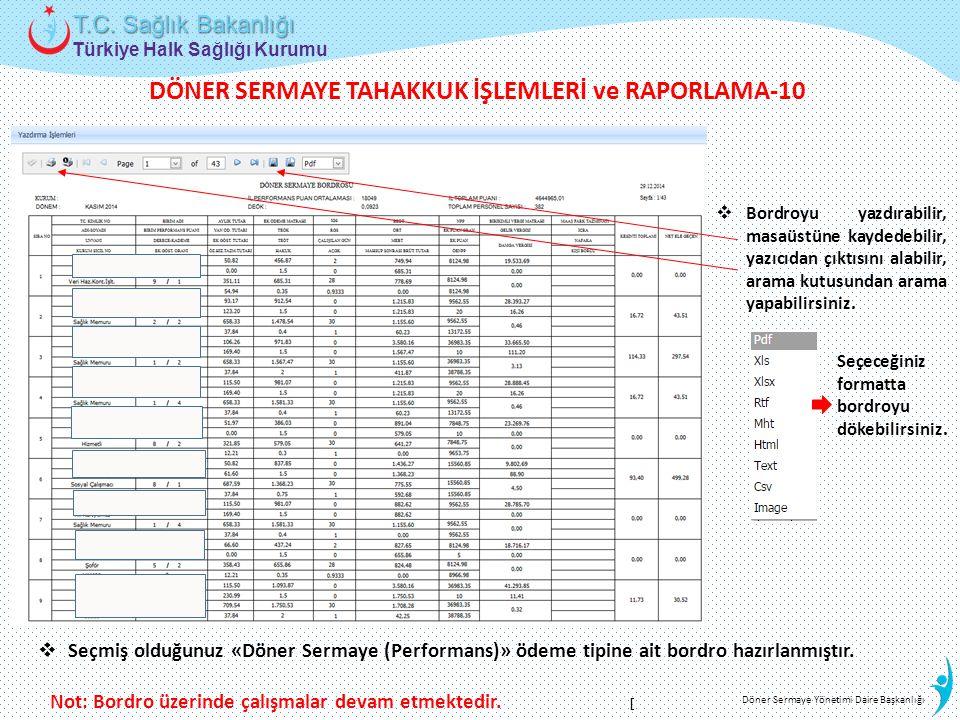 DÖNER SERMAYE TAHAKKUK İŞLEMLERİ ve RAPORLAMA-10