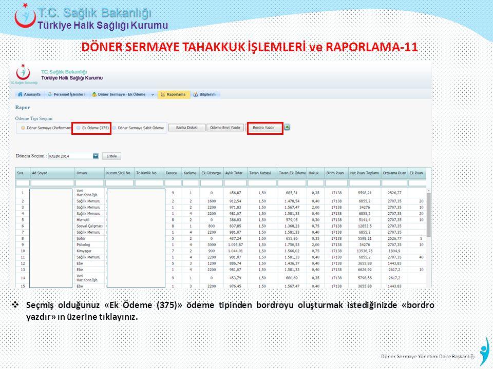 DÖNER SERMAYE TAHAKKUK İŞLEMLERİ ve RAPORLAMA-11