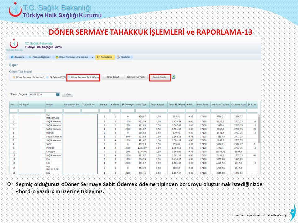 DÖNER SERMAYE TAHAKKUK İŞLEMLERİ ve RAPORLAMA-13