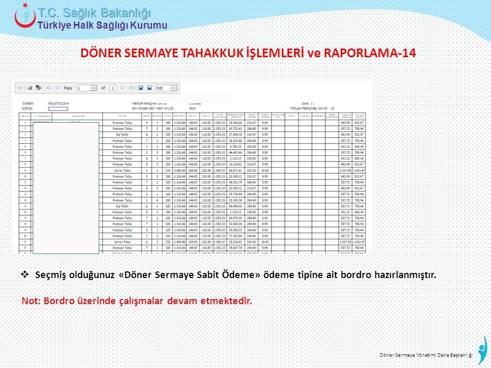 DÖNER SERMAYE TAHAKKUK İŞLEMLERİ ve RAPORLAMA-14