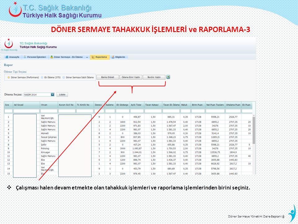DÖNER SERMAYE TAHAKKUK İŞLEMLERİ ve RAPORLAMA-3