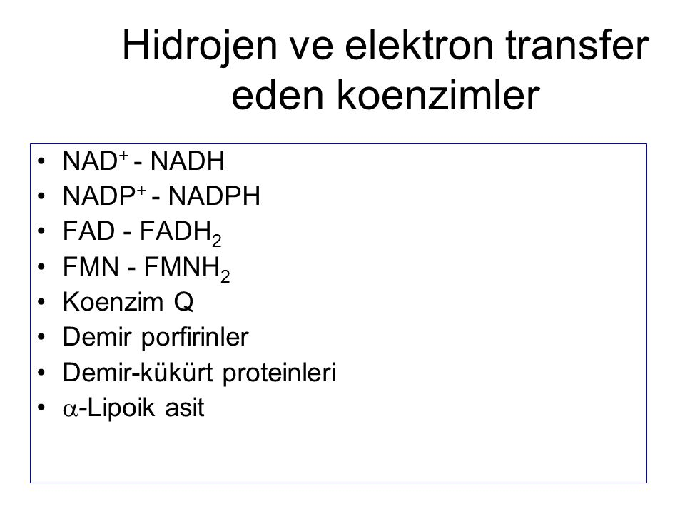 Hidrojen ve elektron transfer eden koenzimler