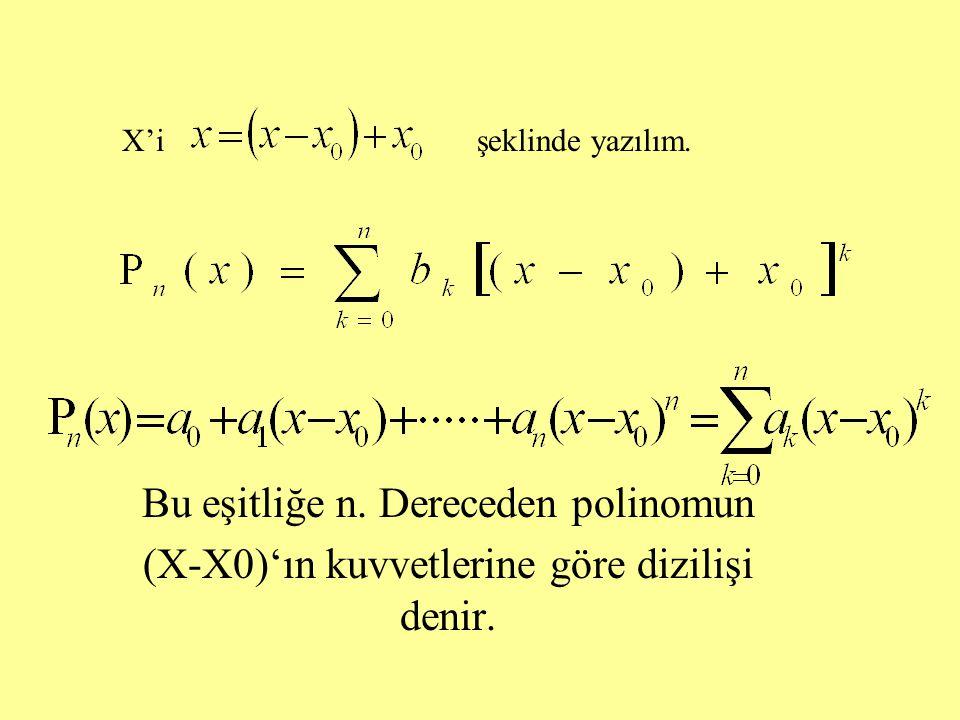 Bu eşitliğe n. Dereceden polinomun