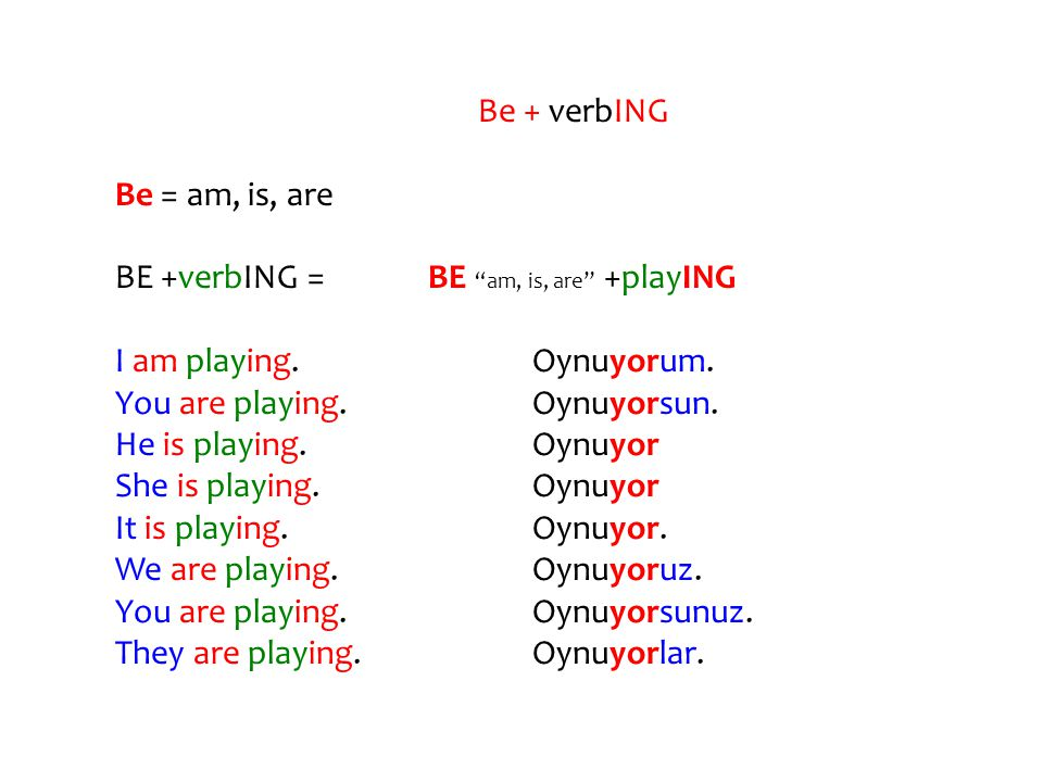 Be + verbING Be = am, is, are. BE +verbING = BE am, is, are +playING. I am playing. Oynuyorum.