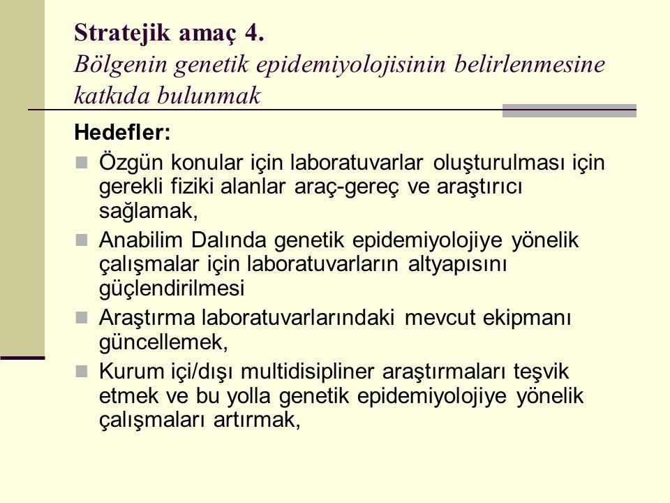 Stratejik amaç 4. Bölgenin genetik epidemiyolojisinin belirlenmesine katkıda bulunmak