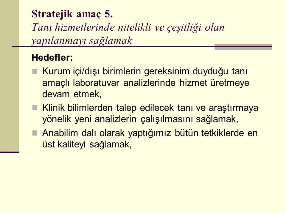 Stratejik amaç 5. Tanı hizmetlerinde nitelikli ve çeşitliği olan yapılanmayı sağlamak