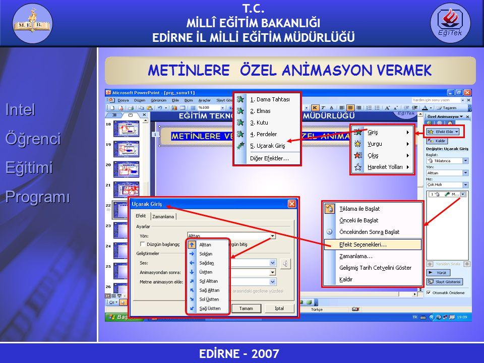 METİNLERE ÖZEL ANİMASYON VERMEK