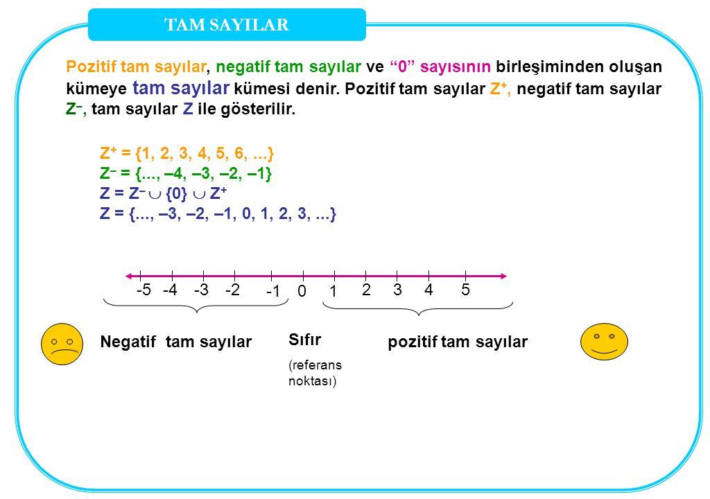 TAM SAYILAR Pozitif tam sayılar, negatif tam sayılar ve 0 sayısının birleşiminden oluşan.