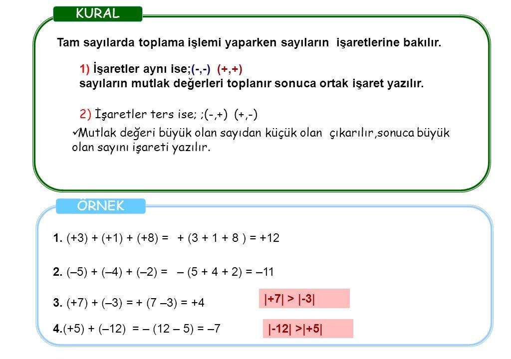KURAL Tam sayılarda toplama işlemi yaparken sayıların işaretlerine bakılır. 1) İşaretler aynı ise;(-,-) (+,+)