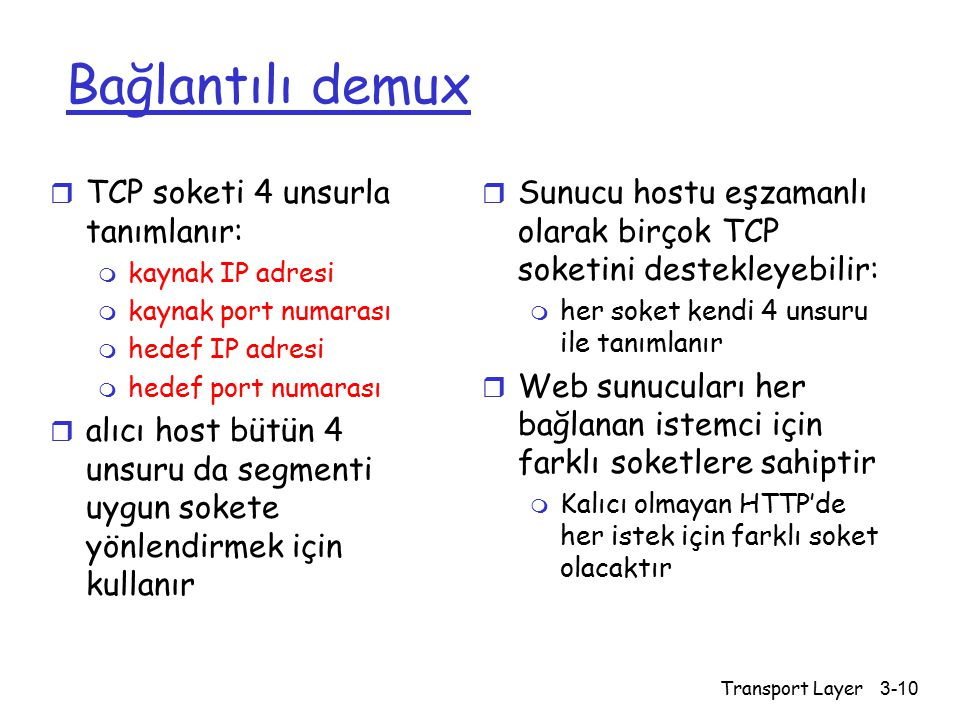 Bağlantılı demux TCP soketi 4 unsurla tanımlanır: