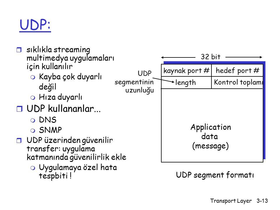 UDP: sıklıkla streaming multimedya uygulamaları için kullanılır. Kayba çok duyarlı. değil. Hıza duyarlı.