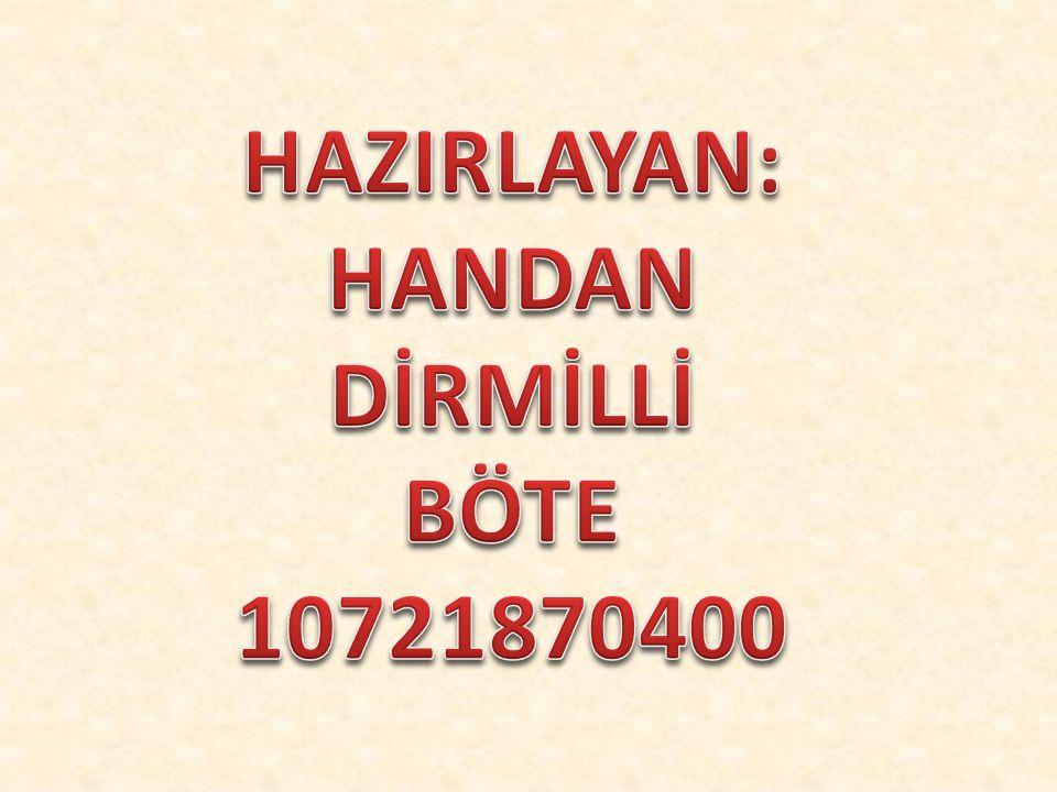 HAZIRLAYAN: HANDAN DİRMİLLİ BÖTE 10721870400