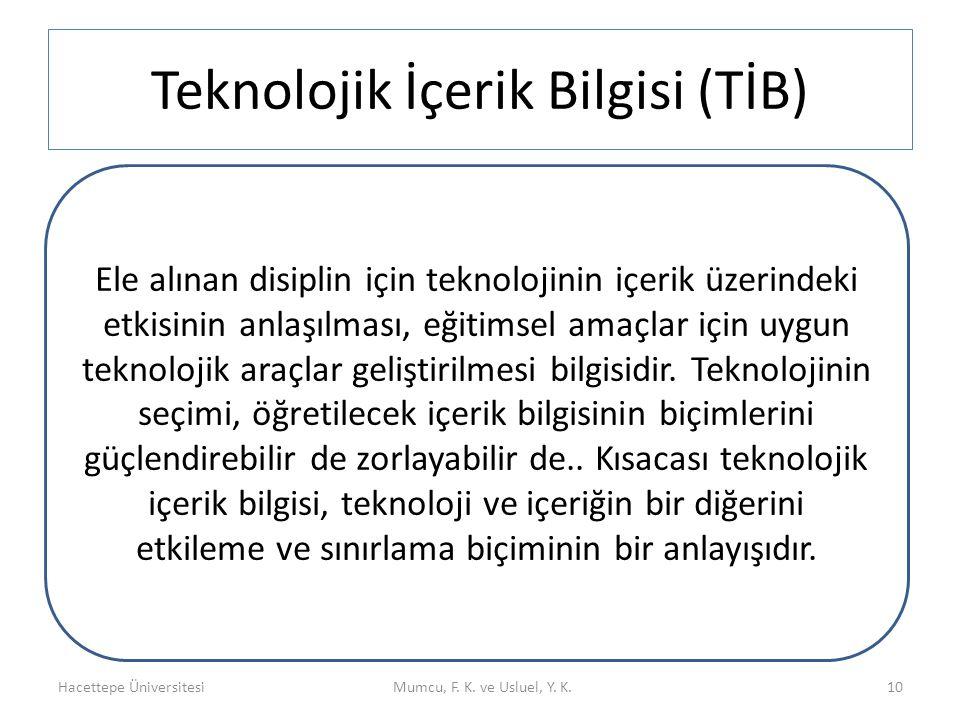 Teknolojik İçerik Bilgisi (TİB)