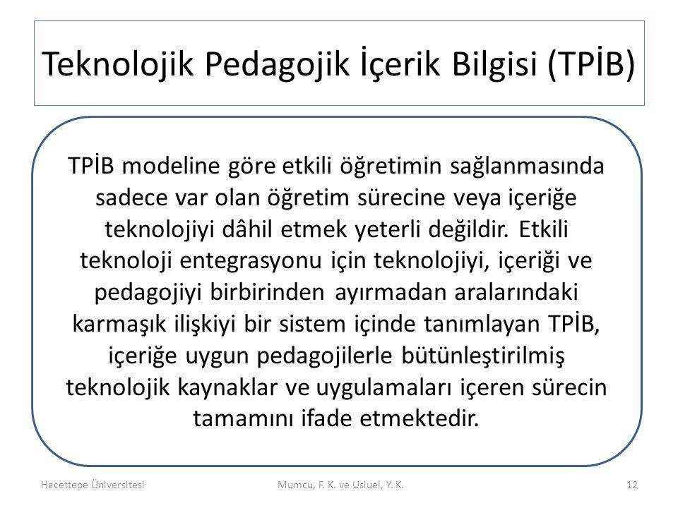 Teknolojik Pedagojik İçerik Bilgisi (TPİB)