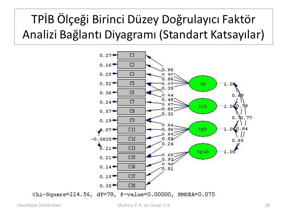 TPİB Ölçeği Birinci Düzey Doğrulayıcı Faktör Analizi Bağlantı Diyagramı (Standart Katsayılar)
